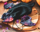 Galaxy black bat nebula dice bag, marble bag, boardgame bag, rune bag, fantasy, goth, witchy, DnD. dungeons and dragons
