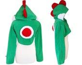 Green dino dragon cosplay costume hoodie (shrug style), gamer, game, console, anime, dragon, dinosaur, trex, t-rex costume