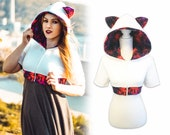 White galaxy cat cropped cosplay costume hoodie (shrug style)
