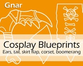 Digital cosplay pattern blueprints 'League of Legends Gnar boomerang prop, ears and tail, skirt flap and corset ' by Pretzl Cosplay - PDF
