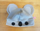 Cute koala bear fleece hat, gift for animal lover, nature lover, travel enthusiast
