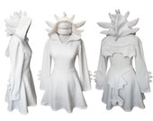 White dragon cosplay dress costume, gothic goth style dress with long sleeves, wings, ears and dragon tail