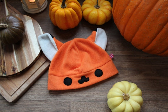 With or without super cute face Kitsune Anime hat available in Orange Cute kawaii fox fleece cosplay beanie hat Pink and White Manga