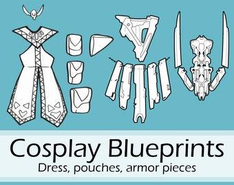 Digital blueprints 'Aloy Banuk Ice Hunter headpiece, armor parts, dress and pouches' by Pretzl Cosplay - PDF