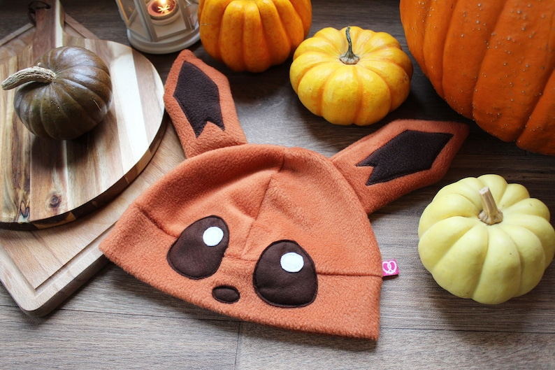 geek Cute fox cosplay beanie hat with cute ears nerd gift for anime animal or gaming lover