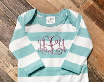 Monogram Baby Gown - Baby Shower Gift - Monogrammed Infant Gown - Coming Home Outfit - Striped Baby Gown - Newborn Baby Gown