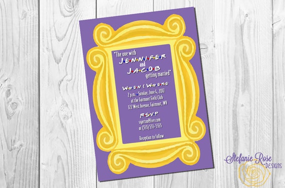 friends tv show wedding invitation or save the date gold