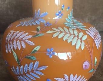 Vintage enameled fern leaf & flower vase