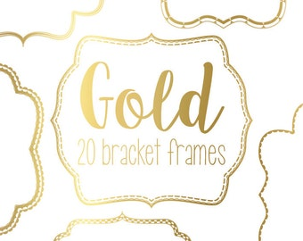 20 Gold bracket frame borders with detail. Instant digital download.