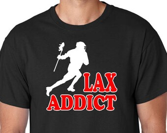 "Lacrosse T-Shirt ""LAX ADDICT"", Extreme Sports, College, High School, Team Sports"