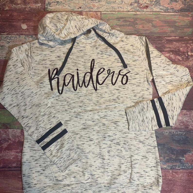 Raiders Striped Sleeve Hoodie Hooded Sweatshirt
