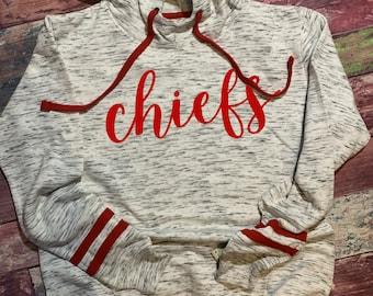 Chiefs Striped Sleeve Hoodie Sweatshirt