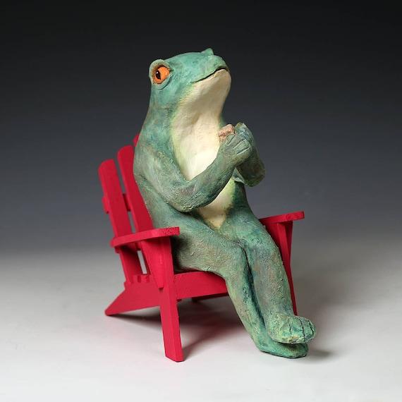 Ceramic Frog Sitting On Red Adirondack Chair Original Art Etsy