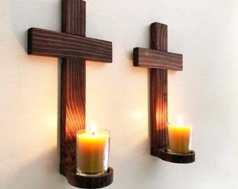 Wall Crosses Set of 2, Wooden Crosses Wall Decor,  Votive Cross Candle Holder, Hanging Wall Cross, Cross Votive Holder, Cross with Candles