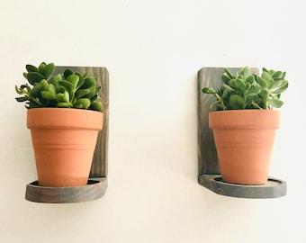 Hanging Wall Planter, Mini Planter with Pots, Wooden Wall Planter, Indoor Wall Planter, Succulent Planter, Mini Floating Plant Shelves
