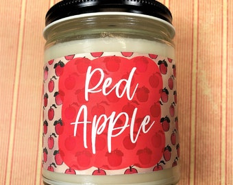 Red Apple Candle | All Natural Soy Wax | Red Apple Scented Candle | Relaxing Candle | New Home Gift | Toxin Free Candle