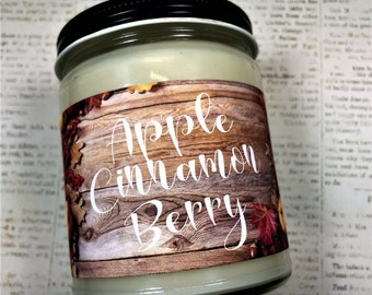 Apple Cinnamon Berry Candle | All Natural Soy Wax | Apple Cinnamon Scent | Fall Scented Candle | Relaxing Candle