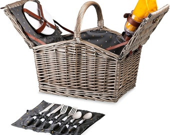 Personalized Picnic Basket, Engraved Monogrammed Luxury Picnic Basket For Wedding or Anniversary, Upscale Picnic Accessories Corkscrew