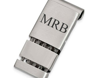 Personalized For FREE Stainless Steel Brushed And Polished Money Clip Groomsmen Gift Fathers Day Gift Money Clips Stainless Steel