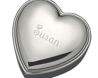 Engraved Heart Shaped Jewelry Box Silver Plated Personalized Jewelry Box Bridesmaids Gifts Birthday Gift Her Wedding Favors Mothers Day Gift