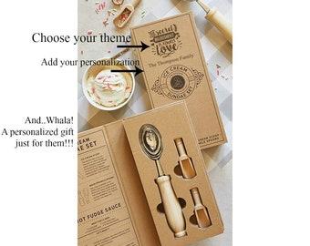 Ice Cream Scoop Set With Personalized Box, Ice Cream Sundae Gift Set, Family Dessert Gift Idea, Wedding Shower Gift, Housewarming Gift