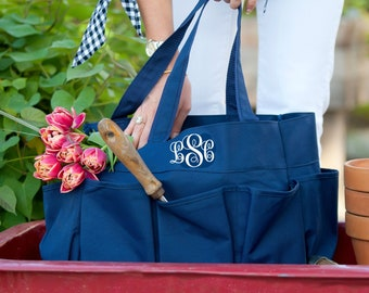 Garden Tote Carry All, Gift For Mom, Carry All Monogrammed Bag, Personalized Garden Bag, Market Tote, Teachers Tote, Victory Garden Gift,