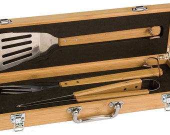 Personalized BBQ Set, Bamboo Grilling Gifts Set For Dad, Fathers Day Engraved Grilling Tools, Dad Gifts Grill Master, Engraved Gifts Him