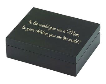 Personalized Keepsake Jewelry Box in Black Great For Mother Of The Bride Engraved Groom New Mom Custom Mothers Day Gift