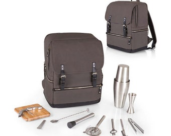 Personalized Bar-Backpack Portable Cocktail Set Cheese Portable Adventure Picnic Set Personalized Cheese Board Corkscrew Cheese Backpacking