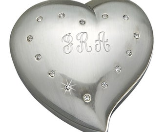 Engraved Heart Shaped With Crystals  Jewelry Box Mothers Day Gift Silver Tone Personalized Jewelry Box Bridesmaids Gifts Wedding Favors