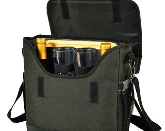 Personalized Wine Cheese Messenger Bag, Portable Wine Bag, Wine Picnic Set, Engraved Tray Cheese Board, Picnics Hiking Backpacking Wine Tote