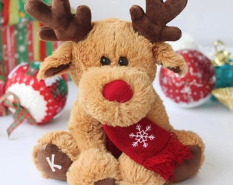 Pre-Order Custom 11.8 in Rudolph, reindeer plush, Christmas gift, Christmas plush toy, Christmas reindeer, customized gifts, personalized