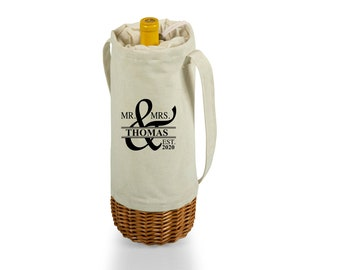 Personalized Wine Tote Insulated, Canvas and Willow Wine Bag, Picnic Wine Bag, Beach Wine Tote, Foodie Wine Gift, Wedding Wine Gift, Hiking