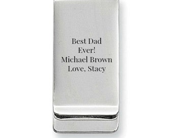Personalized Mens Money Clip Stainless Steel Brushed Money Clip Gift For Dad Groomsmen Gift Fathers Day Gift Engraved Money Clip Father Men