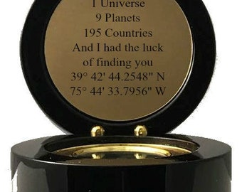 Engraved Compass Gift Custom Latitude and Longitude Nautical Gift Personalized GPS Groomsmen Gift Bridesmaid Gift Valentines Day Gift Mentor