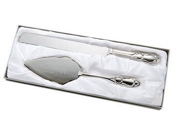 Engraved Wedding Cake Server Knife Set Silver Plated Traditional Cake Cutting Knife Cutter Birthday Server Shower Birthday Silver Tone