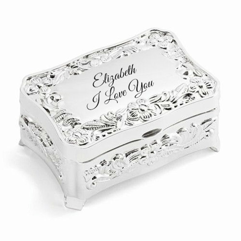 Personalized Silver Plated Jewelry Boxes Perfect For Bridesmaids And Mothers Day Gifts Also Anniversary Gifts 25th Wedding Anniversary Gift