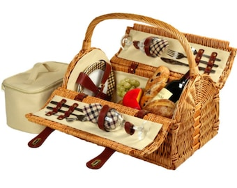 Personalized Picnic Basket For Two, Luxury Picnic Basket For Wedding or Anniversary, Upscale Picnic Accessories, Engraved Gifts