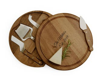 Personalized Cheese Cutting Board With 4 Utensils Knives  Engraved Custom Wedding Gift Housewarming Hostess Gift Holiday Gift Or Bridal Gift