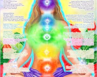 "16""x20"" Chakra Chart Poster - Yoga Art, Energy Healing, Reiki, Chakra Meditation Guide"
