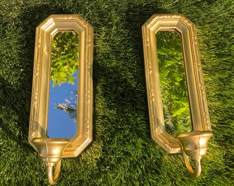 GOLD MIRROR CANDLEHOLDERS, Mirror Wall Sconces, Pair of Wall Mirror Candleholders