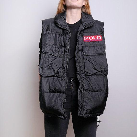 VINTAGE black 90s ralph lauren POLO puffer vest