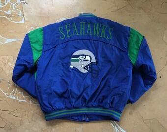 135db45ad1e 90s Seattle Seahawks Nutmeg Mills Jacket - Large Mens - NFL - Football -  Streetwear - Vintage Clothing -