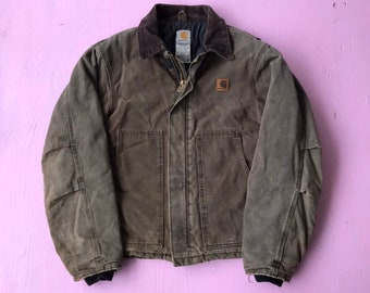 db7b459633aa32 Vintage Distressed Carhartt Jacket - Small Mens - Winter Work Jacket - Work  Wear - Vintage Clothing - Heavy Jacket - Construction - Stained