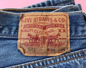 0f674a5b Levis 501 32 x 31 Jeans - Vintage Clothing - Sustainable Fashion - Button  Fly Jeans - High Waisted Jeans - High Rise - marked size 34 x 34