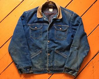 ab32312252 70s Wrangler Jean Jacket - Large Mens - Lined Denim Jacket 44 - Vintage  Clothing - Jeans - Vintage Denim - Workwear - Grunge - Distressed -