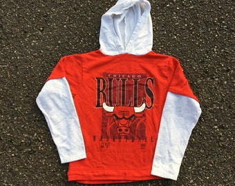 02eb37fcb63bdb 90s Chicago Bulls Hoodie - Boys Large - Childrens Clothes - Youth Clothing  - Vintage Clothing - Illinois - Michael Jordan - 14 16 - Vtg