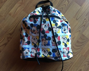 57511ae150 90s Mickey Mouse Backpack - Canvas - Disney - Cartoons - Mickey Bag - Vegan  Backpack - Drawstring Backpack -