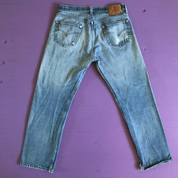 90s Levis 501 34x30 - Distressed - Made in USA Le… - image 3