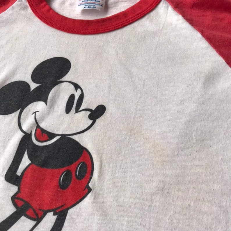 Streetwear Large Fashion Clothes Off White 80s Mickey Mouse T Shirt Vintage Clothing Distressed Vintage Tee Disney Shirt -